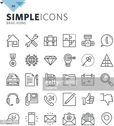 Modern thin line basic web icons : Vektorgrafik