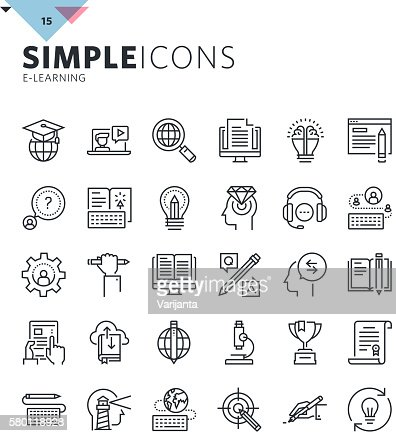 Modern thin line icons of online education and e-learning : Vektorgrafik