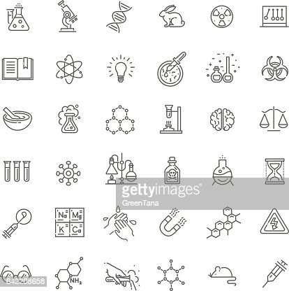 Modern thin line icons set of biochemistry research : Vector Art