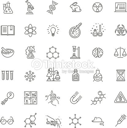 Modern thin line icons set of biochemistry research : stock vector