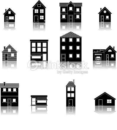 moderne trendige retro flach haus stra e icons set vektorillustration vektorgrafik thinkstock. Black Bedroom Furniture Sets. Home Design Ideas