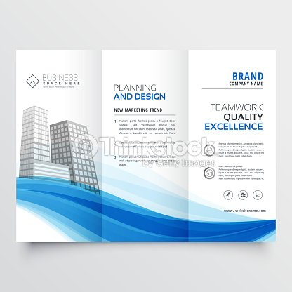 modern trifold brochure design layout template with blue wave vector