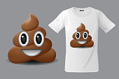 Modern t-shirt print design with shit emoticon, smiling face, emoji, use for sweatshirts, souvenirs and other uses, vector illustration.