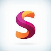 Modern twisted letter s icon design element template