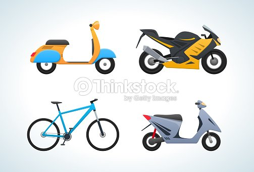 Modern types street transportation in transport: scooter, sports bike, bicycle