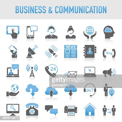Modern Universal Business & Communication Icon Set : Vector Art