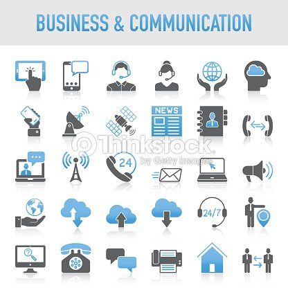 Modern Universal Business & Communication Icon Set : stock vector