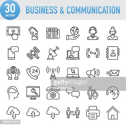 Modern Universal Business & Communication Line Icon Set : Vector Art