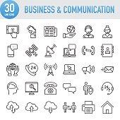 Modern Universal Business & Communication Line Icon Set