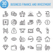 Modern Universal Business Finance and Investment Line Icon Set