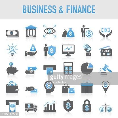 Modern Universal Business & Finance Icon Set : Vector Art