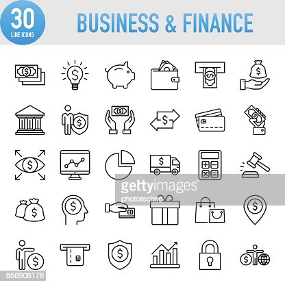Modern Universal Business & Finance Line Icon Set : Vector Art
