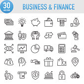 Modern Universal Business & Finance Line Icon Set