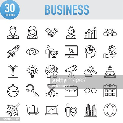Modern Universal Business Line Icon Set : Vector Art