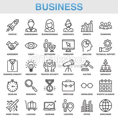 Modernen universellen Business-Line-Icon-Set : Vektorgrafik