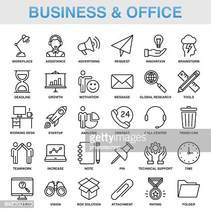 Modern Universal Business & Office Line Icon Set : Vector Art