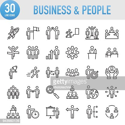 Modern Universal Business & People Line Icon Set : Vector Art