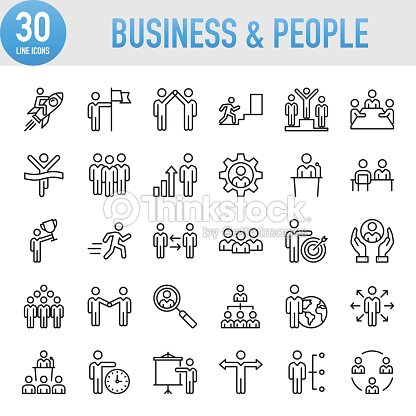 Modern Universal Business & People Line Icon Set : stock vector