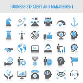 Modern Universal Business Strategy and Management Icon Set