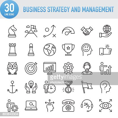 Modern Universal Business Strategy and Management Line Icon Set : Vector Art