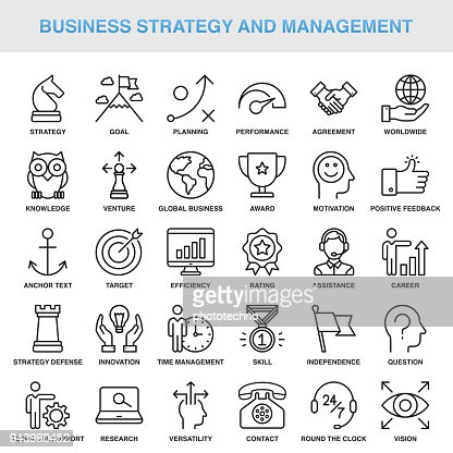 Modern Universal Business Strategy and Management Line Icon Set : arte vetorial