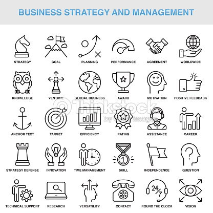 Modern Universal Business Strategy and Management Line Icon Set : stock vector