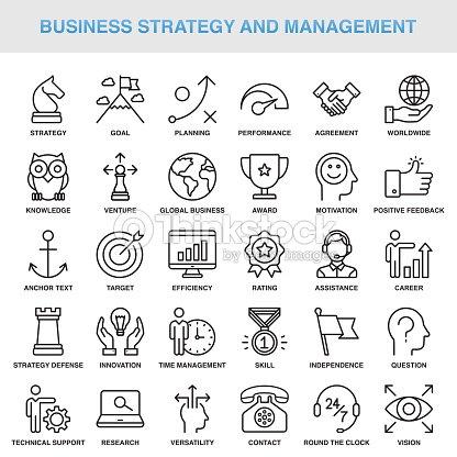 Modernen universellen Business-Strategie und Management-Line-Icon-Set : Vektorgrafik