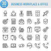 Modern Universal Business Workplace and Office Line Icon Set