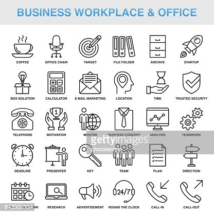 Modern Universal Business Workplace & Office Line Icon Set : Vector Art