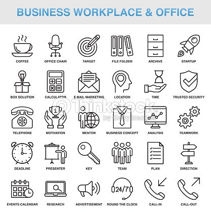 Du milieu de travail moderne d'affaires universel & Office Line Icon Set : clipart vectoriel
