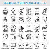 Modern Universal Business Workplace & Office Line Icon Set