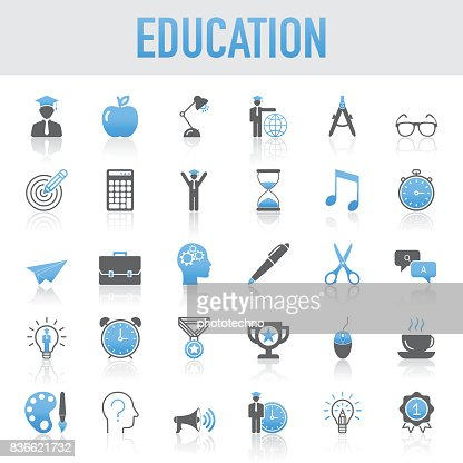 Modern Universal Education Icons Set : Vector Art