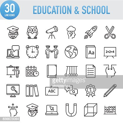 Modern Universal Line Education And School Icons : Vector Art