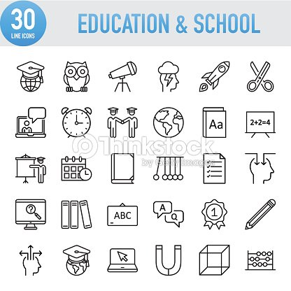 Modern Universal Line Education And School Icons : stock vector