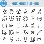 Modern Universal Line Education And School Icons