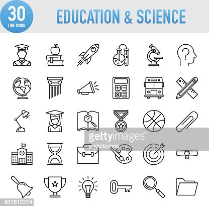Modern Universal Line Education And Science Icons : Arte vetorial