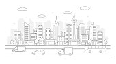 Modern urban landscape. City life illustration with house facades,road and other urban details. Line art. Vector.