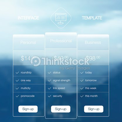 modern user interface screen price list template for mobile smart