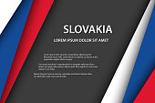 Modern vector background, overlayed sheets of paper in the look of the Slovak flag, Made in Slovakia, Slovak colors and grey free space for your text