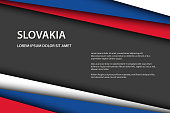 Modern vector background with Slovak colors and grey free space for your text, overlayed sheets of paper in the look of the Slovak flag, Made in Slovakia