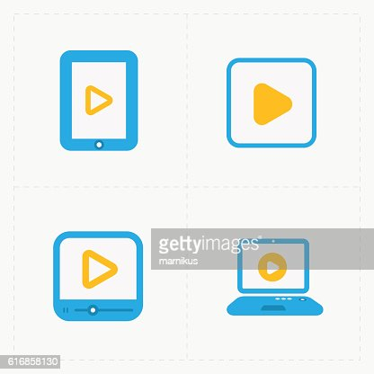 Modern vector colorfull flat video player icons. : Vector Art