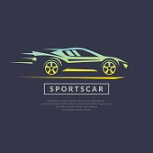 Modern vector emblem sports cars on a dark background in linear style