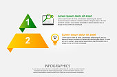 Modern vector illustration 3d. Infographic template of the pyramid with two elements, rectangles. Contains icons and text. Designed for business, presentations, web design, diagrams with 2 steps.