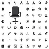 Modern vector office chair graphic vector illustration on white background. Business set of icons