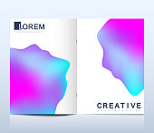 Modern vector template for brochure Leaflet flyer advert cover catalog magazine or annual report.. Abstract fluid 3d shapes vector trendy liquid colors backgrounds. Colored fluid graphic composition