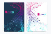 Modern vector template for brochure leaflet flyer cover banner catalog magazine or annual report in A4 size. DNA helix, DNA strand, molecule or atom, neurons. Wave flow. Lines plexus.