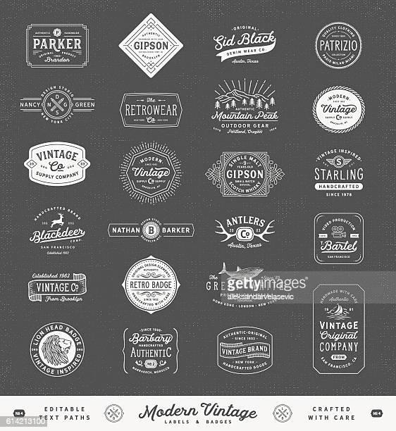 Modern Vintage Labels,Badges and Signs
