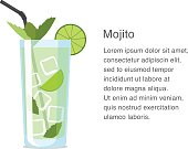 Mojito alcohol cocktail vector illustration