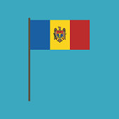 Moldova flag icon in flat design. Independence day or National day holiday concept.