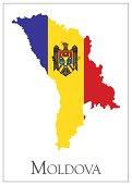 Vector illustration of Moldova flag map